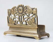 Antique Stamp Box, Art Nouveau Postage Box, Vintage Brass Stamp Holder