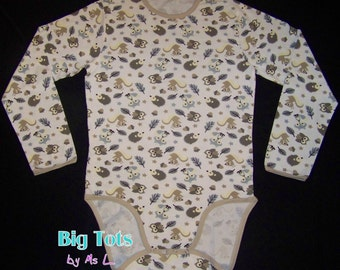 Adult Baby FOREST ANIMALS long sleeve Bodysuit ABDL