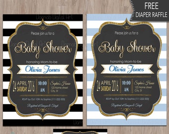 Baby Shower invitation boy, baby shower boy invitation, baby shower boy invites, boy baby shower invitation, printable, invites, blue, black
