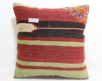 "embroidered kilim pillow 16""x16""Turkish rug pillow throw pillow boho pillow kilim pillow Turkish cushion cover multicolor pillow SP4040-1315"