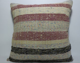 Striped kilim pillow turkish kilim pillow White pillow 24x24 hand woven kilim pillow home decor natural pillow multicolour pillow SP6060-529