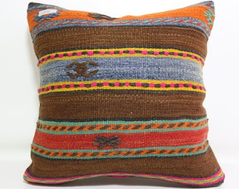 Turkish Striped Pillow 20x20 Decorative pillow Multicolour Kilim Pillow floor Pillow Kilim Pillow Kilim Cushion Case Boho Pillow SP5050-918
