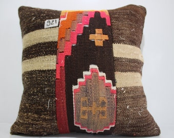 anatolian kilim patchwork pillow cover 16x16  Turkish embroidered Kilim Pillow kilim pillow cushion cover SP4040-921