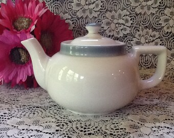 Vintage Walker China Vitrified White teapot two cup size restaurant ware, Gray border