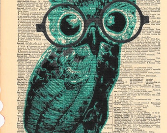 Cute Little Teal Owl With Glasses | Dictionary Pages | Dictionary Art Print | Dictionary Art | Owl Decor | Owl Picture | Antique Dictionary