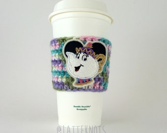 Mrs Potts / Beauty and the Beast / Coffee Cup Cozy / Crochet Coffee Sleeve / Reusable Cozie / Customizable