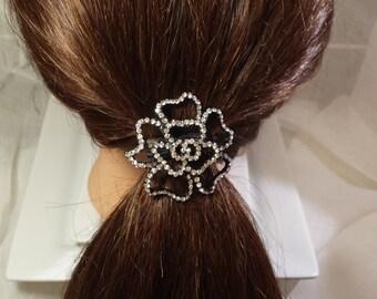 stone flower ponytail holder
