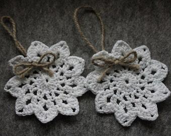 Crochet Christmas tree ornaments  - crochet snowflakes ornaments - white Christmas decorations - set of 4