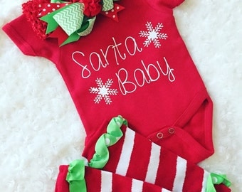Santa baby onesie with bow