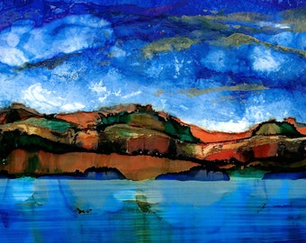 "Alcohol Ink Landscape Print / Abstract Art by Karen Wysopal / ""River Cliffs 3"" / Blue Sky, Clouds, Mountains"