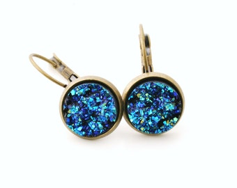 Earrings-bronze with glitter blue cabochon