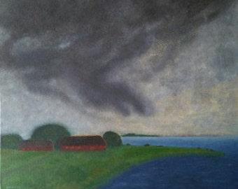 Painting: The farm by the sea / Tavla; Gården vid havet