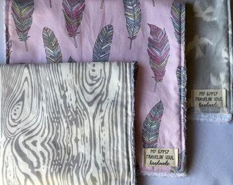 Pink Feather, Gray Birds, Woodgrain Set of 3 Burp Cloths.