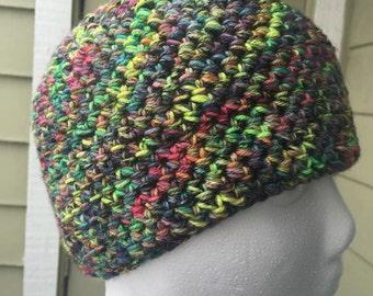 Madeline Tosh Electric Rainbow Crochet Beanie