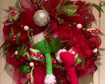 Grinch Christmas wreath, Christmas wreath, Santa wreath, Christmas decor, holiday decor