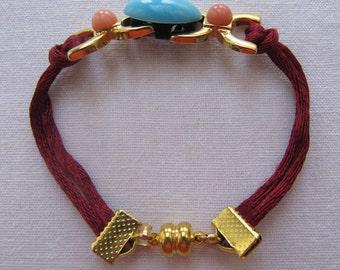 Handmade jewelry, fancy bracelet, burgundy, apricot,