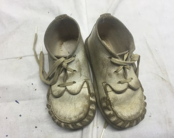 Pair of antique white baby shoes