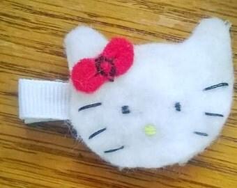 Felt Hello Kitty Hairclip/ Girls Hello Kitty Hair Clip/ Toddler Hello Kitty Hair Clip/ Girls Hair Clips/ Toddler Hair Clips