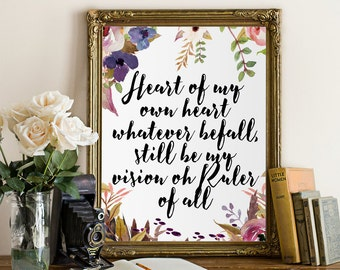 Calligraphy art print, Printable wall art, hymn printable, Be Thou My Vision, hand lettered print, hymn print, wall decor, Heart of my own ,