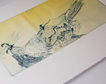 Original Art Yellow and Blue Abstract Bird Monoprint