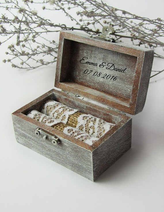 Personalized rustic ring bearer box wooden wedding ring box for Custom engagement ring box