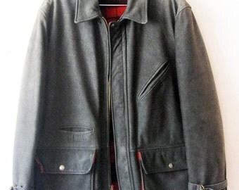 SLASHED: SCHOTT Heavy Leather Coat-Jacket Lined / Size 40