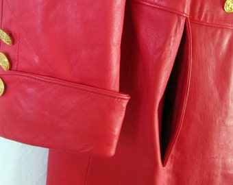 1980s Red Leather Trench Coat / Size Med - Large