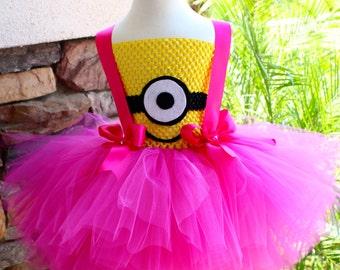 Minion Girl Tutu Dress, Pink Minion Tutu Dress, Minion Costume, Girl Tutu Costume, Girls Tutu Dress, Halloween Costume, Birthday Tutu Dress
