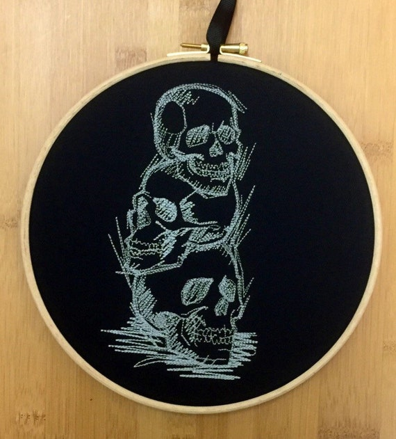SALE Sketchy skulls embroidery hoop art - gothic alternative skull family life death hope embroidered line drawing emo gift man teenage