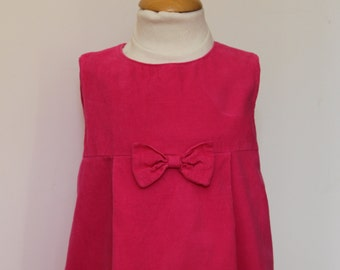 Robe chasuble forme tulipe velours rose T 2, 4 ans