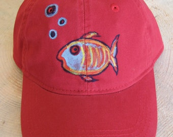 Red Fish Baseball Hat hand painted