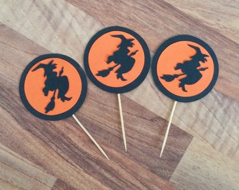Halloween Cupcake toppers, 12 Witch cupcake toppers, Halloween Party, Halloween Decoration, Scary Cupcake toppers