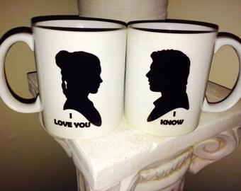 I love you, I know ceramic, 11 oz coffee mug set