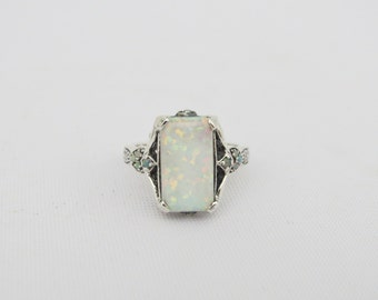 Vintage Sterling Silver White Opal Ring Size 7
