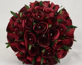 Artificial Wedding Flowers Burgundy Rose Brides Bouquet Posy