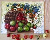 Still life painting 'Rejuvenating apples', original still life oil painting, canvas 60x80cm