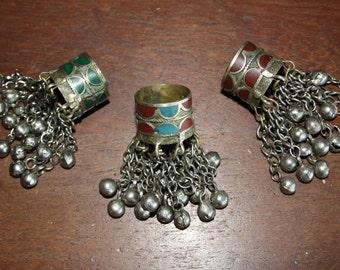 Old Kuchi Tribal Ring Afghani Dangly Jingle Bells Ring Gypsy Ring Bohemian Boho Hippie Ring