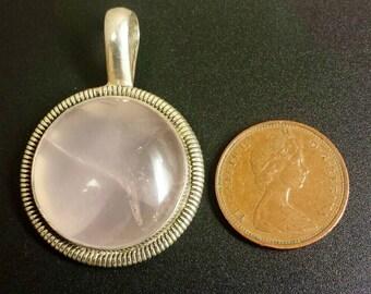 Sterling Silver .925 Rose Quartz Pendant