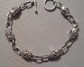 Sterling Silver .925 Skull Bracelet