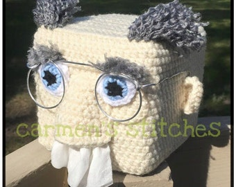 Tissue box cover - snotty man - handmade - small PUFFS box - crochet - old man - tissue out of nose pulling - sick days - funny - big nose