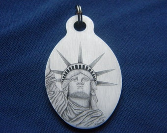 Hand Engraved Stainless Steel Statue of Liberty America Pendant