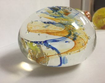Wispy Orange and Blue Paperweight