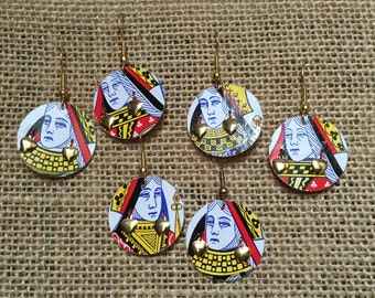 Valentine's Day Queen of Hearts earrings: gold charms, vintage playing card cut-outs