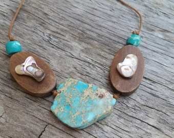 Turquoise, Wood & Paua shell necklace