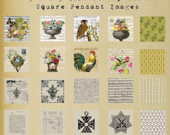 Digital Collaged Bird Nest Vase Flowers in 1.5 inch square artworks for Pendants Memory Glass Downloadable Printable Scrapbook Paper Crafts