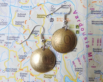 French vintage curved 5 - 10 - 20 centimes coin earrings - made of pre-euro coins from France