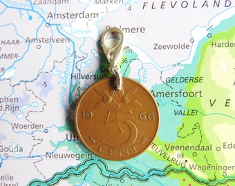 Netherlands penny coin charm in birth year 1960 - 1961 - 1962 - 1963 - 1964 - 1965 - 1966 - 1967 - 1968 - 1969
