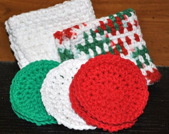 Christmas Themed Washcloth and Face Scrubby Gift Set