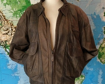 Mens Vintage Leather Bomber Jacket