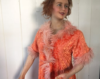 1920's French Flapper Peach Boudoir Coat Feathers